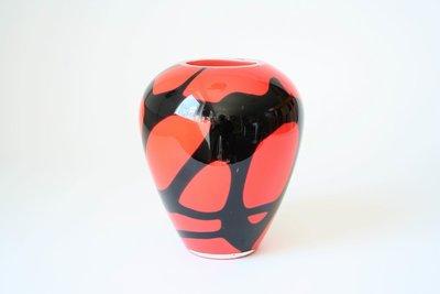 Bloemenvaas bol oranje zwart