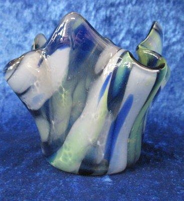 Waxinelichthouder transparant blauw,groen en wit