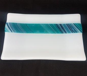 Schaal wit met blauw en turquoise tinten