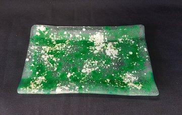Schaal transparant met wit en groen
