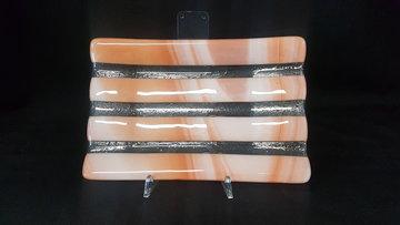 Schaal transparant met oranje strepen