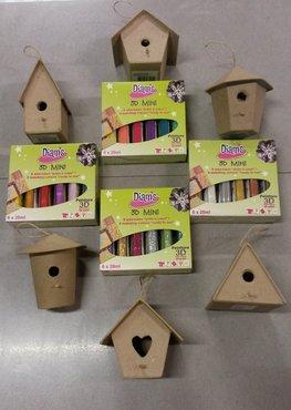 Diam's3D verf  6 x 20 ml met gratis papiermaché vogelhuis (zolang de voorraad strekt)